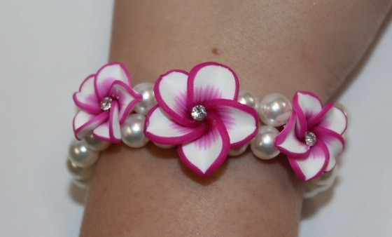Blüten Armband fuchsia