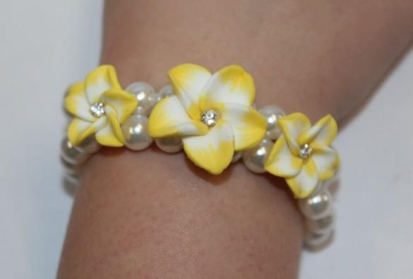 Blüten Armband gelb