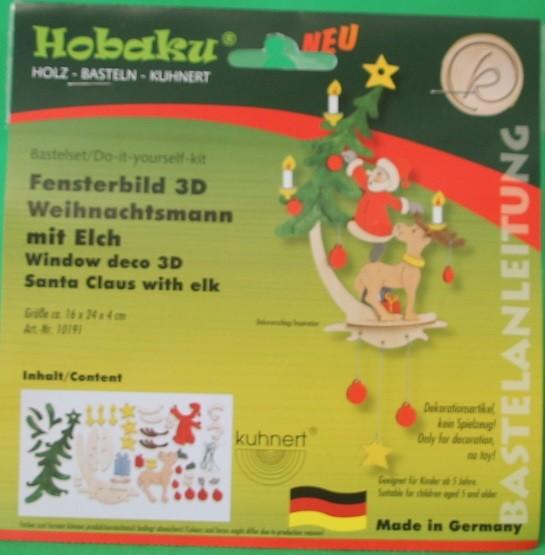 Fensterbild 3D Weihnachtsmann