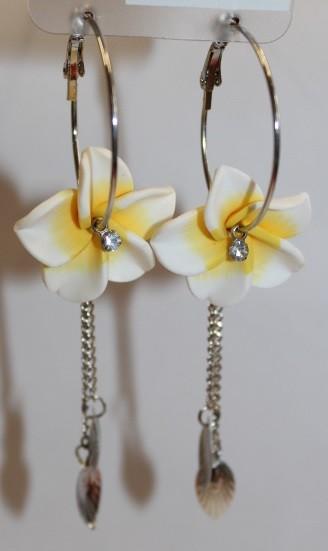 Blüten Kreolen weiß - gelb