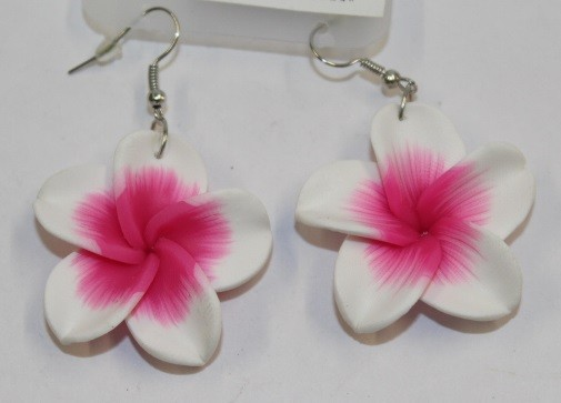 Blüten Ohrringe weiß - pink
