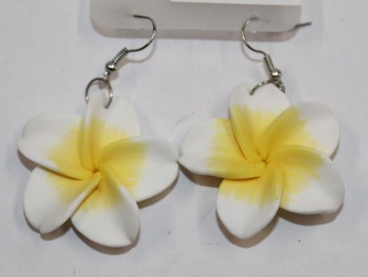 Blüten Ohrringe weiß - gelb