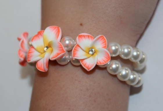 Blüten Armband orange
