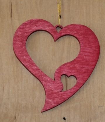 Straußschmuck Herz rot 2