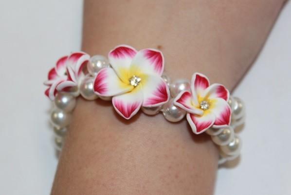 Blüten Armband rot
