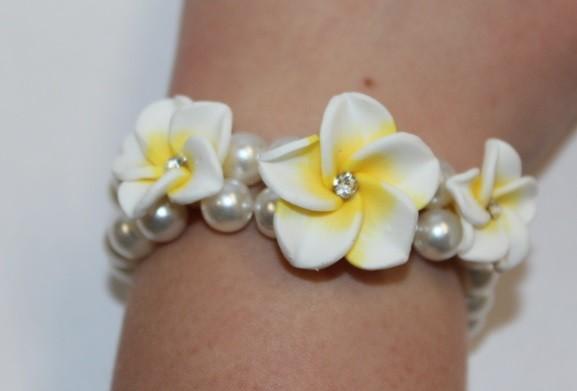 Blüten Armband weiß-gelb