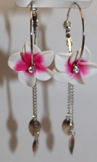 Blüten Kreolen weiß - pink