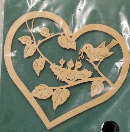 Fensterbild Herz Vogel