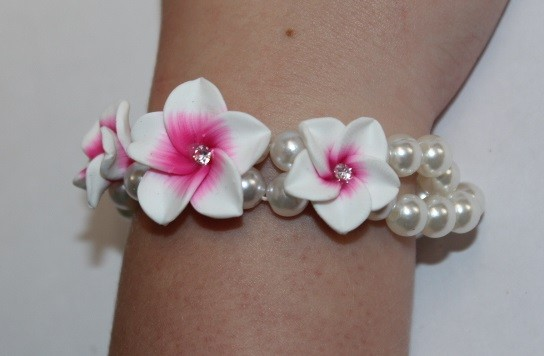 Blüten Armband weiß-pink