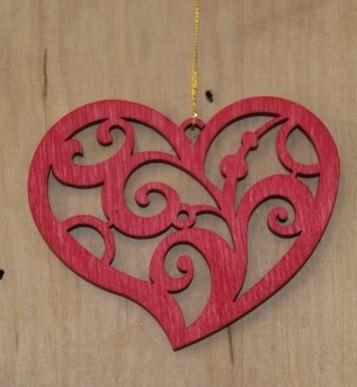 Straußschmuck Herz rot 3