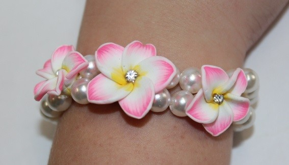 Blüten Armband pink