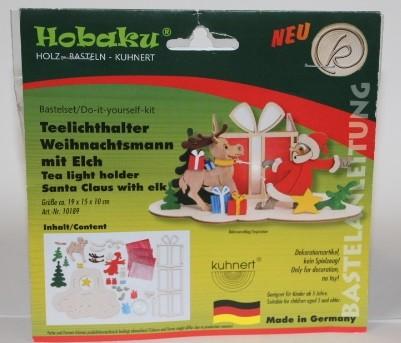 Teelichthalter Weihnachtsmann mit Elch