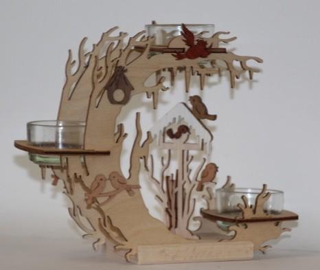 Teelichtkranz Vogelhaus
