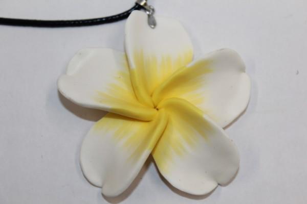 Blüten Halskette weiß - gelb