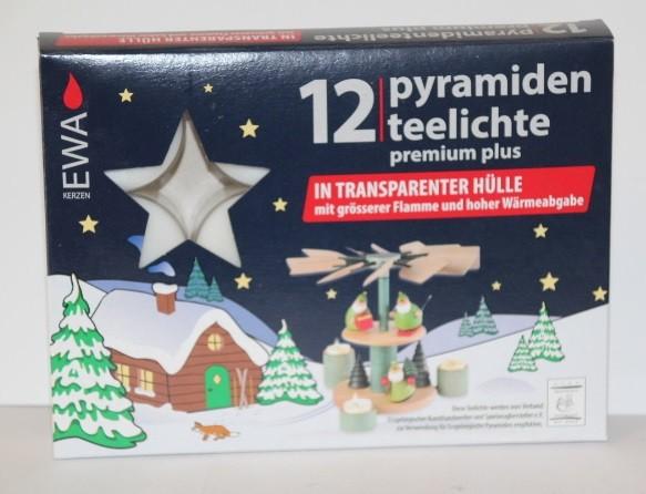 12 Teelichter für Pyramiden