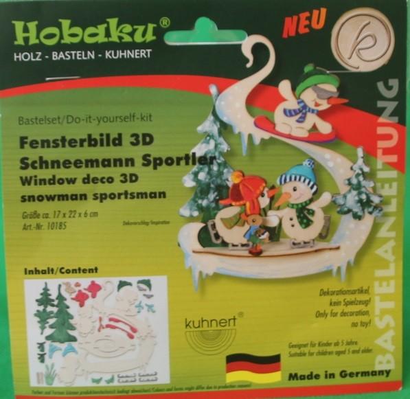 Fensterbild 3D Schneemann Sportler